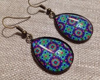 Drop cabochon earrings - Stud Earrings - mosaic - Hispanic - arabesques