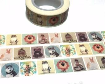 Animal washi tape 5M giraffe Siberian Husky pet cat owl lion rabbit washi tape cute animal planner sticker tape animal themed decor gift