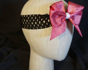 Pink Metallic Bow on Black Elastic Headband; Baby; Infant