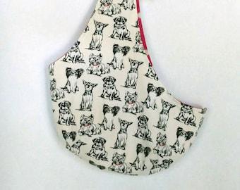 Pet Sling Carrier, Reversible Dog Sling, Crossbody Dog bag, Dog carrier purse, Dog print, Puparoos