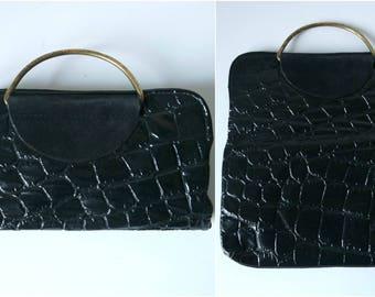 Vintage Black Leather Handbag, Patent Leather Convertible Bag, Black Clutches, 1970s