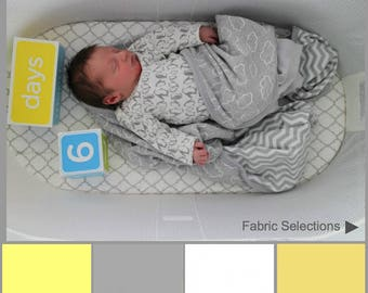 Baby Bjorn fitted bassinet sheets.Yellow, gold, gray and white premium cotton designer cradle sheets.Modern nursery decor.Gender neutral