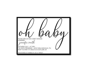 Modern Baby Shower Invitation | Chic Baby Shower Invitation | Elegant Baby Shower Invitation | Classic Baby Shower Invitation | Printable