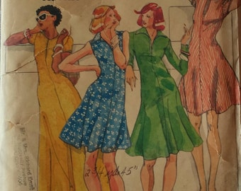 Vintage Butterick 3606 Clovis Ruffin 1970s Dress Size 16