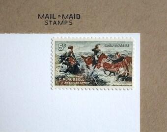 Charles M Russell || Set of 10 unused vintage postage stamps