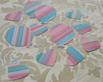 Pink Blue Candy Stripe Ballon Shaped and Hearts Table Confetti Childrens Birthday Party New Years Christening Table Decoration Confetti