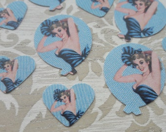 Pin Up Girl Balloons and Hearts Table Confetti Vintage Retro Wedding Birthday Party Table Decoration Confetti