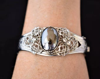 "Vintage Hematite Hinged Cuff Statement Bracelet 7.5"" Rhinestone Ornate Silver Tone Retro Costume Estate Wedding Jewelry"
