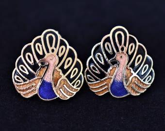 "Vintage Cloisonné Enamel Peacock Bird Earrings Clip On Retro Costume Estate Jewelry .5"""