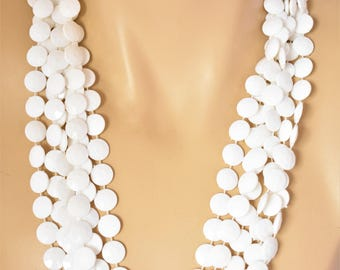 Vintage 80s Multi Strand Necklace White Faceted Coin Beads Boho Chic Flapper Style Retro Costume Jewelry 46""
