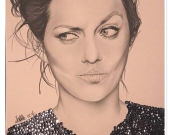 """""""Marion Cotillard"""" /sequins graphite portrait"""