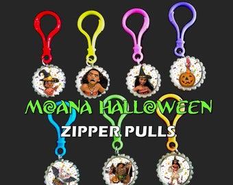 MOANA Halloween Party- Bottle Cap Zipper Pulls Moana Halloween  Images, Set of 7 Bottle Cap Color Plastic Zipper Pulls .