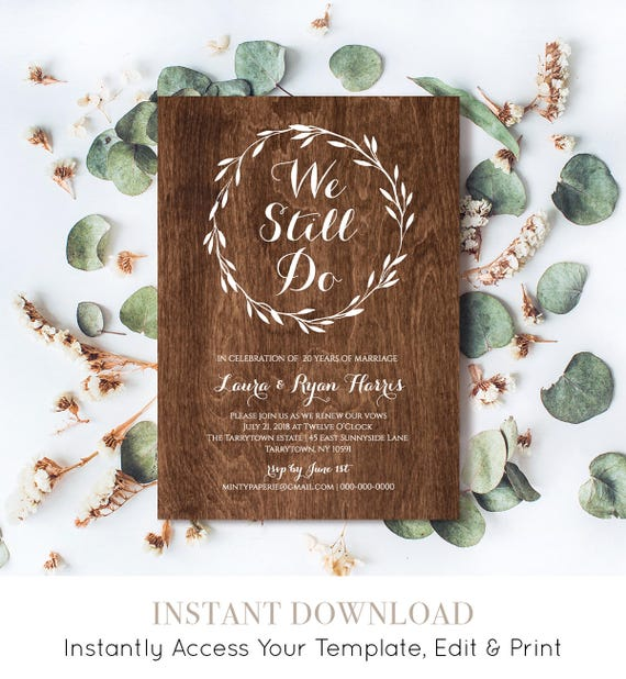 Vow Renewal Invitation, INSTANT DOWNLOAD, We Still Do, Rustic Wedding Anniversary Invite Template, Renew Vows, 100% Editable, DiY #NC-104VR