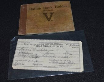 Vintage War Ration Book Holder, War Sugar Purchase Certificate, Four Copies of Ration Book 4, War Ration Stamps, 1940s World War II Items