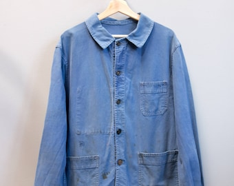 French Chore/Work Jacket - Faded Blue / M /  L