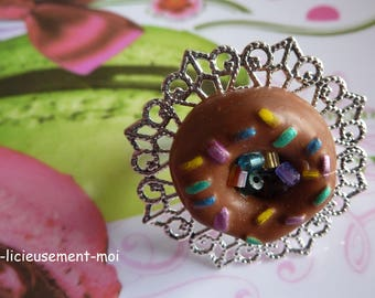 Filigree ring adjustable lace adjustable silver-plated donut cake biscuit Christmas colorful sprinkles polymer clay