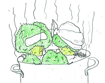 broccoli bath Gemüsebrüder vegetable guys card postcard
