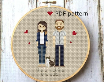 3 characters Custom family PDF Cross Stitch Pattern Family Portrait Custom Cross Stitch people Embroidery hoop portrait Custom DIY X087