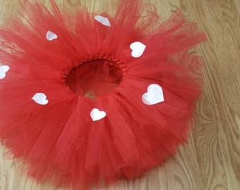 Valentines day tutu Red with white hearts