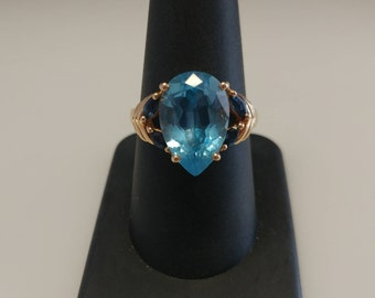 14k Pear Blue Stone Ring