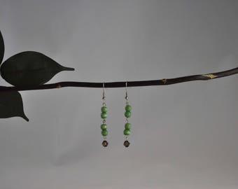 Green cats eye earrings, Dangle earrings, Swarovski crystal earrings, Silver earrings