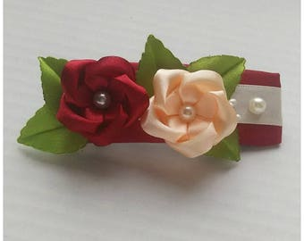 Satin french barrette dk red and lt orange/Kanzashi flower hair clip/Original Hair Accessory