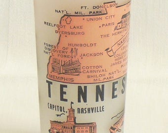 Vintage Tennessee Travel Souvenir Glass, State of Tennessee, Hazel Atlas Pink on Frosted Glass, 1950s Souvenir Barware, Highball Cocktail