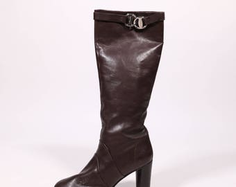 SALVATORE FERRAGAMO - Leather boots with heel