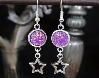 Pink Stars - cabochon - stars - celestial - astral - iridescent - fantasy - pink - girly - glitter - Unicorn - Mermaid earrings
