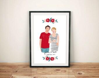 Illustration personnalisée / Portrait de couple / Mariage fiançailles anniversaire