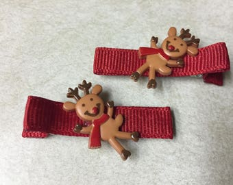 Hair clips - reindeer, Christmas, red - baby girl, child
