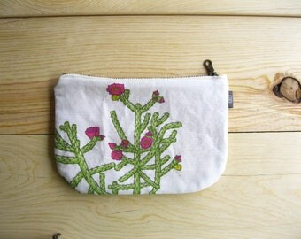 Cholla Cactus Fabric Pouch - Zipper Pouch Bridesmaid Gift, Gift for Her. Succulent Cactus Print Bag, Southwest Style