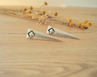 Long Silver Spike Stud Earrings, Silver Triangle Shape Stud Earrings, Geometric Stud Earrings, Gothic Rock Style Earrings Jewelry