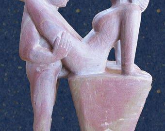 Sensual Art Sculpture-Kamasutra Postures-Lovers United-Handmade Erotic Craft