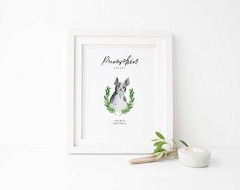 Custom Pet portrait, custom dog portrait, hand drawn dog illustration, personalized sign with dog portrait, custom dog picture, dog painting