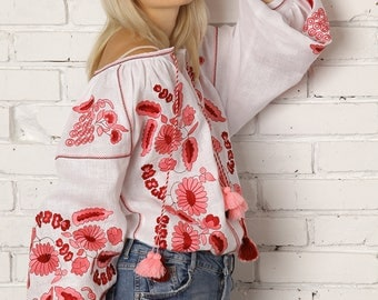 Bohemian Linen Vyshyvanka blouse. Embroidered top, Ukraine Clothing, Ethnic embroidery. White blouse, Flower blouse, Grape, Mexican shirt