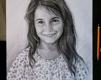 Custom Pencil Portraits Hand Drawn Portraits Custom Pencil Drawing with Pencil Drawing from Photo Pencil Drawing