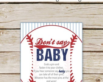 Baseball Baby Shower Don't Say Baby - Dont Say Baby Game Sign - Printable Download - Baseball Diaper Clothes Pin Game - Baseball Game