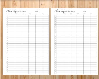 Yearly Planner, Printable, Planner, PERSONAL SIZE, Ring Bound, Filofax Personal Agenda, A4, A5, Letter *SALE*