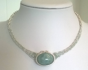 Aquamarine and silver plated copper wire necklace