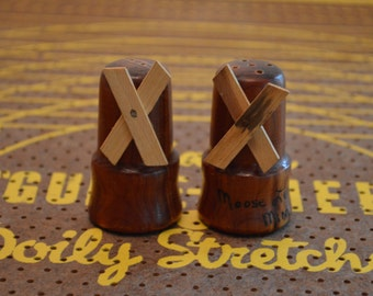 Wooden Windmill Salt and Pepper Shakers