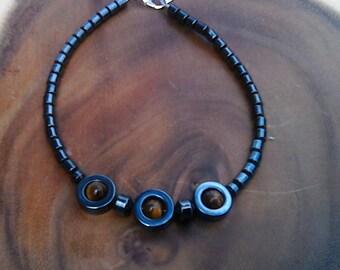 Hematite, Tiger Eye Gemstones Anklet