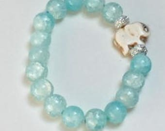 Signature Elephant Bracelet - Blue Glass with stone elephant charm