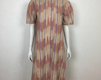 Vtg 70s cotton Lanvin ikat pastel minimalist dress ethnic medium