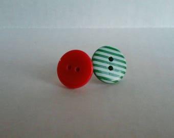 Christmas Button Earrings