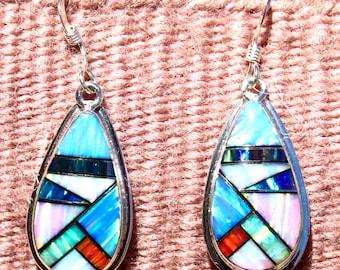 Navajo Lee Thompson Lab Opal Inlay Dangle Earrings