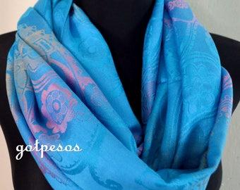 Pashmina Snood, infinity Scarf, loop scarf, circle scarf, Paisley Pashmina Shawl, infinity pashmina, blue pink pashmina scarf