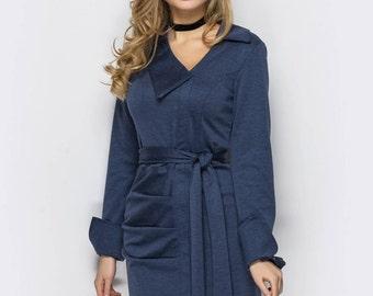 Office dress women's Grey Dress casual wear Midi dress Business woman Casual womens dress Grey Jersey dress Spring dress long sleeve