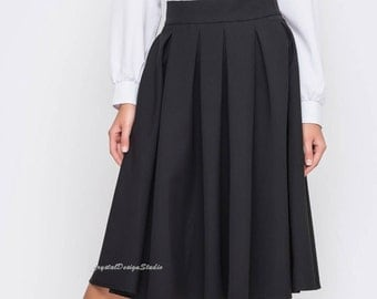 Black skirt folds Women skirt office Classic skirt women Midi skirt folds Occasion skirt black Office clothing everyday