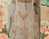 Slip Dress, Tattered Lace Boho, Baby Doll Tiered Lace and Sheers